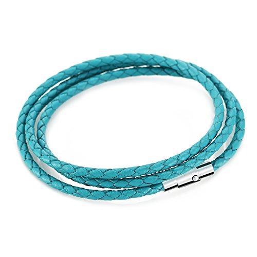 MANBARA Pelle Bracciali Bracciale Braccialetto Bangle Gioielli Donna Nero Bianca Rosa Blu (blu)