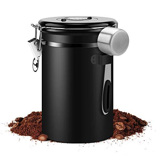 Luftdichter großer Kaffeebehälter aus Edelstahl, Kaffeedose mit 1 Messlöffel für geröstete Kaffeebohnen, Tee, Nüsse und Pulver, frische garantiert, für 624 g, schwarz