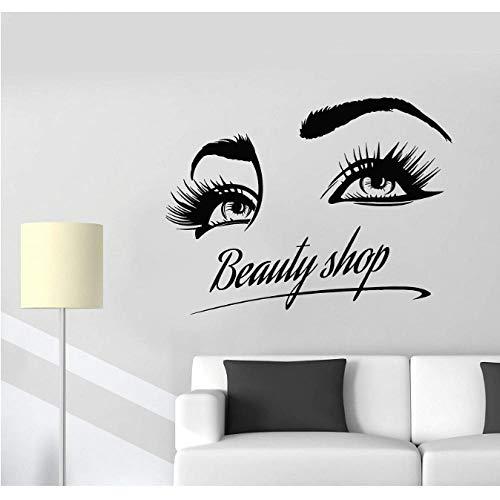 Vinyle Sticker Beauté Boutique Logo Fille Cils Yeux Maquillage Cosmétiques Autocollants 55x42cm