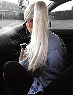 RUNATURE Ponytail Extension Real Hair Wrap Around Ponytail Extension Platinum Blonde Hair Extension 16 Inches 80g Per Set Invisible Hairpiece 100% Human Hair Extensions Silky Straight