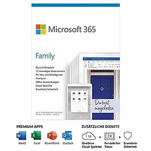 Premium-Versionen von Word, Excel, PowerPoint und Outlook und1 TB OneDrive-Cloud-Speicher zum Sichern von Dateien und Fotos Funktioniert auf Windows, MacOS, iOS und Android (iOS und Android erfordern eine separate App-Installation) Erweiterte Sicher...