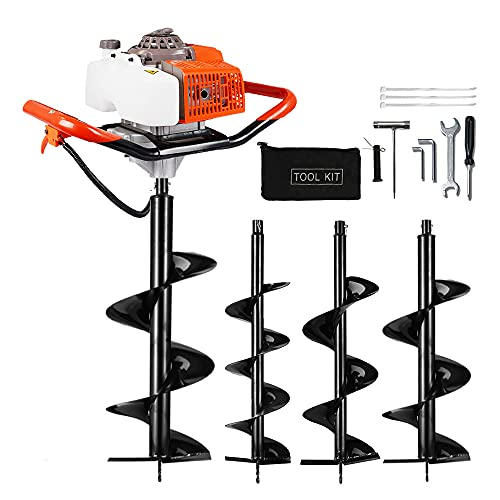 """ECO LLC 63cc Post Hole Digger 3.4HP 2 Stroke Petrol Gas Powered Earth Digger with 4 Auger Drill Bits (4"""" 6' 8' & 12') for Farm Garden Plant (Subcontract Delivery)"""