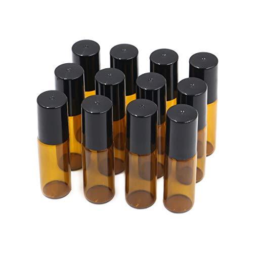Ulable Leere Glas-Rollflaschen mit Edelstahl-Rollkugeln für ätherische Öle, Aromatherapie und Duft, Braun (12 Stück, 5ml)