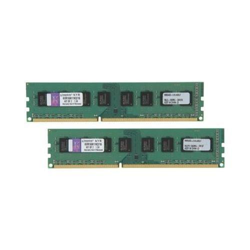 Kingston ValueRAM 16GB DDR3 SDRAM Memory Modules - 16 GB (2 x 8 GB) - DDR3 SDRAM - 1600 MHz - Non-ECC - Unbuffered - 240-pin - DIMM KVR16N11K2/16