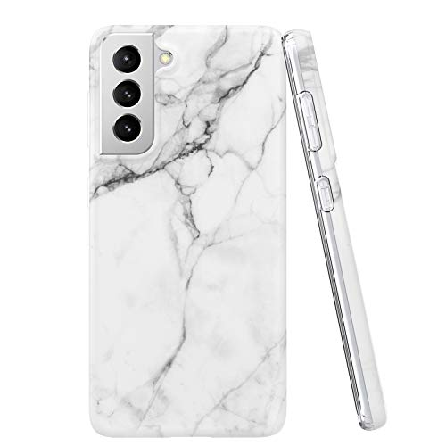 Compatible with Samsung Galaxy S21 Case, Case Marble Matte Design Slim Stylish Soft Flexible TPU, IMD Technology Protective Phone Cover for 6.2 inch,White
