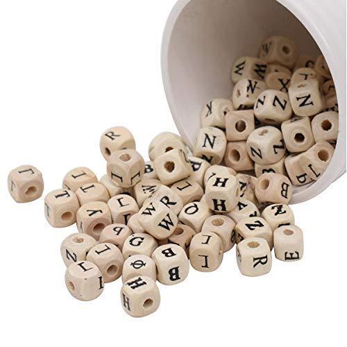 Trimming Shop Houten Letter Kralen met Zwarte Alfabet A tot Z Letters Kubus voor Armbanden, Sleutelhanger, DIY Crafts, Educatief Speelgoed, 100 stuks