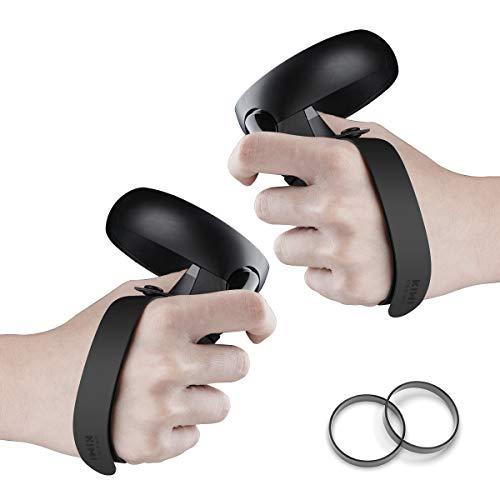 [Versão atualizada] Projeto KIWI Alça de aperto para Oculus Quest/Oculus Rift S Touch Controller Grip Acessórios com presilhas de borracha substituíveis (preto, 1 par)