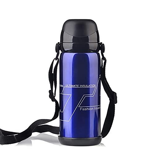 PTHZ Frasco de vacío, Botella aislada al vacío de Acero Inoxidable para Bebidas frías y Calientes, matraz de vacío de Gran Capacidad portátil para Viajes, Senderismo y Camping (800 ml),Azul
