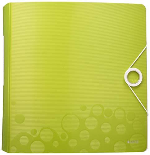 Leitz 11060064 Multifunktions-Ordner (A4, Runder Rücken 8,2 cm Breite, Gummibandverschluss, Kunststoff, WOW) grün metallic