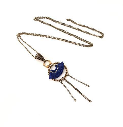 Collier sautoir bronze bohème boho frange bleu marine pompom bijou CHIC original géométrie ethnique été art déco mode tendance bijoux fantaisie original FEMME créateur