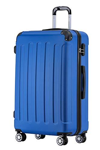 BEIBYE Hartschalen-Koffer Trolley Rollkoffer Reisekoffer Handgepäck 4 Rollen (M-L-XL-Set) (Blau, L)