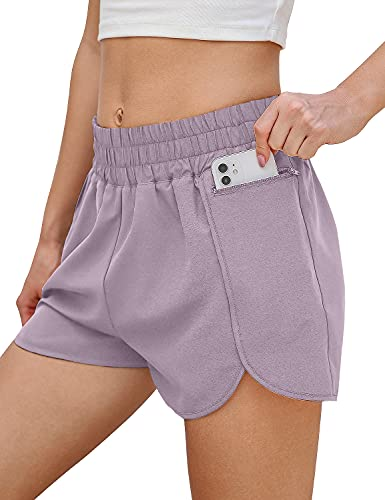 Blooming Jelly Womens Running Shorts Active Elastic Waistband Athletic Workout Shorts with Pockets (Small, Lavender Purple)
