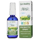 Go Healthy Natural Kids Liquid Probiotic Skin Care Topical Spray- USDA Organic Vegan Kids Baby Toddlers 12 Plant-Based Strains- 2 oz Glass