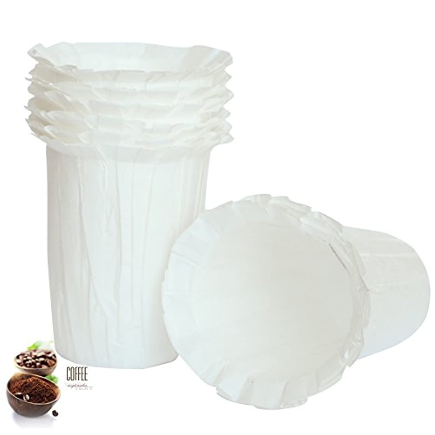 BRBHOM Disposable Filters Paper K Carafe Filter Cups K Carafe Pods Compatible Paper-(100 Filters) (White) (White/Large)
