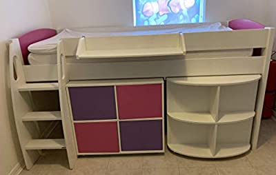 Stompa kids loft bed, Uno S Plus Mid-Sleeper with White Headboard, Pull-Out Desk and 4 Door Cube Unit, White/Pink