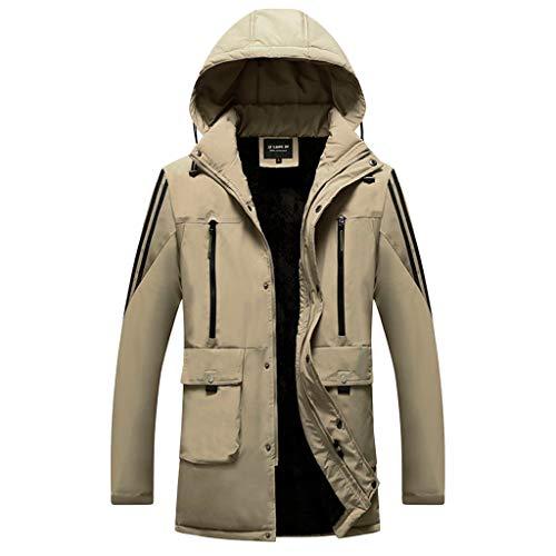 Uqiangy Mens Winter Velvet Inside Hooded Softshell Waterproof Sherpa Lined Windbreaker Parka Jacket(Khaki,XL)