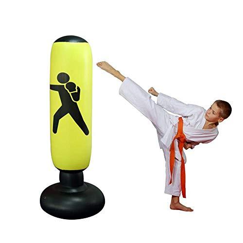 Womdee Fitness-Boxsack, aufblasbar, Boxsäulen-Tumbler, Boxsack & verdickter Boden, starker Boxsack, stark genug für Chrildren und Erwachsene, Übungen & Stressabbau, 160 cm, gelb