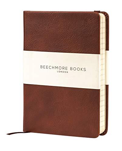 Liniertes Notizbuch - Hochwertiges Tagebuch A6 von Beechmore Books | Festeinband Veganes Leder, Dickes Cremefarbenes Papier 120 g/m², Notizbuch in Geschenkschachtel (Kastanienbraun)