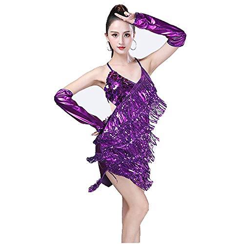 Uiophjkl Latin Dancewear Vrouwen Dancewear Backless Pailletten Ballroom Samba Tango Latijnse Dans Jurk Competitie Kostuums Mouwloos Sway Flapper Cocktail Jurk (Kleur: Paars, Maat : Een maat)