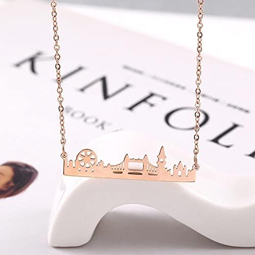 OYHBV Collar Gold Skyline Cityscape Collar Delicado Acero Inoxidable Country London City Collar Joyería Minimalista