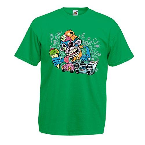 lepni.me Herren T-Shirt The Funky Monkey DJ - 80er Jahre Retro Vintage Music Deck Kassette Player Gr. 56, Farbe: Grün