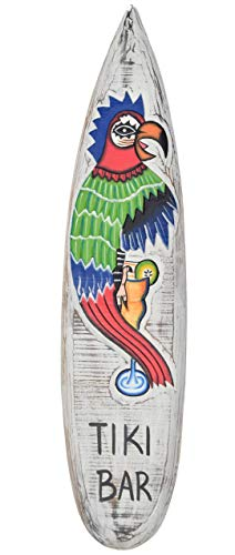 Interlifestyle Tiki Barra Tabla de Surf 100cm con Loro Motivo Decoración para Colgar Lounge Estilo Tabla de Surf