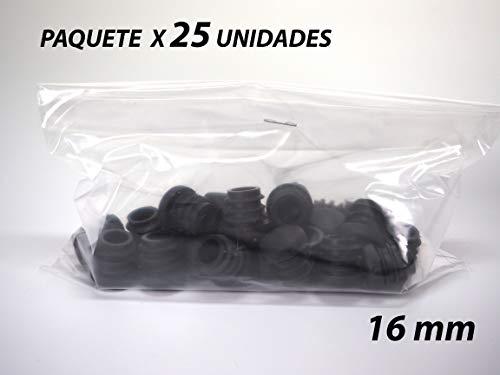 Paquete 25 Contera de Goma Redonda Interior Acanalada para Tubos   Estriada   16mm   Negro   Para Cilindro   Sillas Patas Bastones