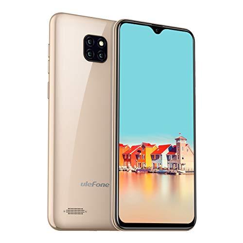 Günstige Smartphones, Ulefone Note 7 Handy ohne Vertrag Triple Kamera DREI Kartensteckplatz 6,1 Zoll In-Cell Wassertropfen Bildschirm 16GB ROM 3500mAh Akku, Dual SIM Android 8.1 Handy - Gold