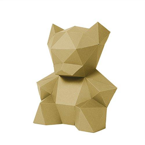 PaperShape 3D Teddy-Bär aus FSC-Papier ohne Kleben. Geschenk für werdende Mütter Moderne Kinderzimmer-Deko 26 x 24 x 14cm Made in Germany (liberate gold)