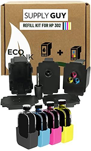 SupplyGuy Refill Ink compatibile con HP 302 XL Refill Set - Nero + Colore - incl. accessori per una ricarica facile e pulita delle cartucce d'inchiostro della serie 302 / 302XL
