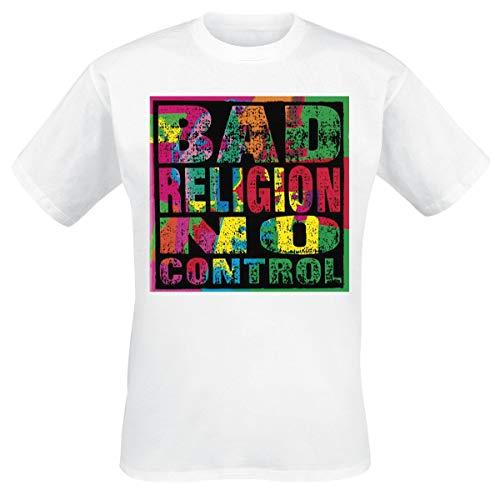 Bad Religion No Control Hombre Camiseta Blanco M, 100% algodón, Regular