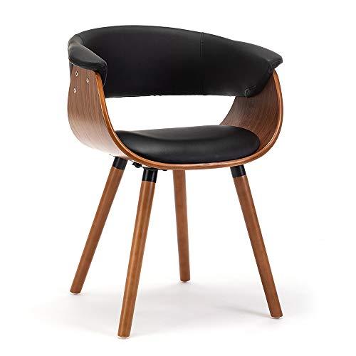 schalenstuhl armlehnen Holz Retro Stuhl bürostuhl bürostuhl Vintage Stuhl bürostuhl stoffbezug esszimmerstühle Holz Polster Stoff mit Noten sitzschale Stuhl schalenstuhl esszimmerstühle (Schwarz)