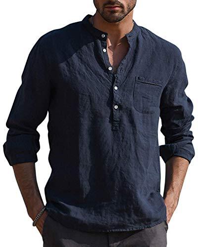 Gemijacka Hemd Herren Langarm Henley Leinenhemd Herren Freizeithemd mit Brusttasche Regular Fit Men Shirts, Dunkelblau, L