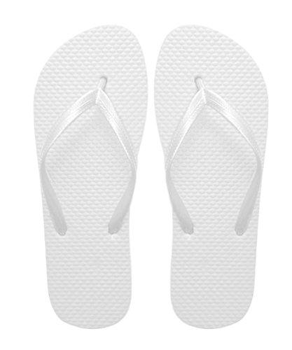 SUGAR ISLAND Unisex Ladies Girls Mens Summer Beach Flip Flop Pool SHOES-WHITE-5/6