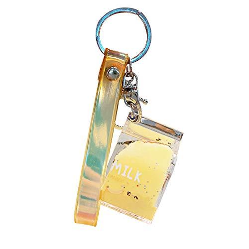LZHLMCL Schlüsselringe Für Mädchen Milchkarton Acryl Auto Schlüsselanhänger Anhänger In Öl Flüssigkeit Schwimmende Schultasche Anhänger Geschenk Schlüsselbund