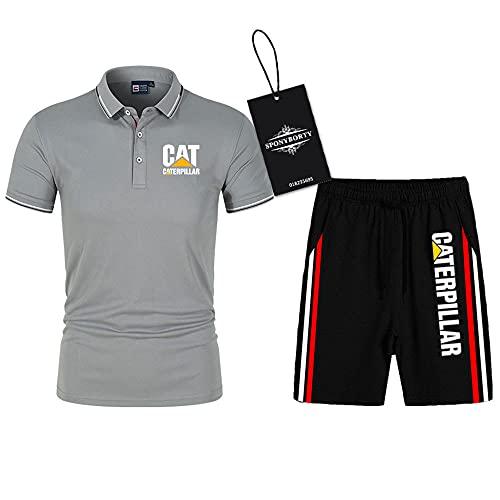 SPONYBORTY Polo Dos Piezas Camisas Camiseta Pantalones Cortos Manga Corta Cate.R-Pillar Impresión Parte Superior Hombres Y Mujer Algodón Casual Chandal Conjunto Sudadera Tee Niños / A6 / S