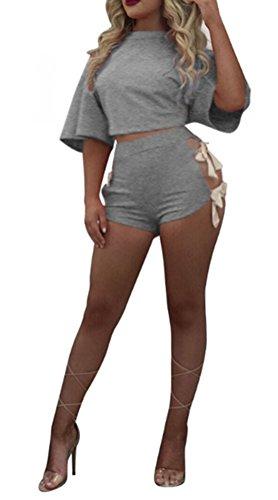 Blansdi Damen Sommer Bandage Crop Top Kurz Hosen Streetwear Jogger Running Sportanzug Jogging Shorts Trainingsanzug Sportswear Zweiteilig Sets Sportbekleidung Hosenanzug 6 Farben