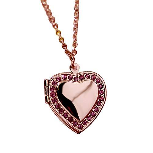 Fattigger Collares para mujeres y mujeres Rhinestone Corazón Marco de fotos camafeo collar cadena clavícula joyas regalo y regalos de Navidad para las mujeres, Oro rosa y rojo rosa., PH