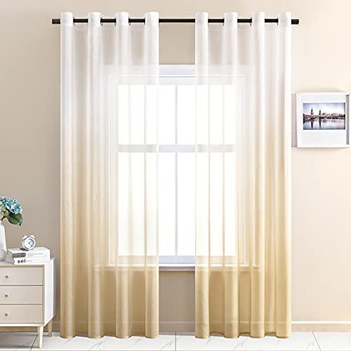 CUTEWIND Cortinas transparentes degradadas con barra para salón, dormitorio, 140 cm x...