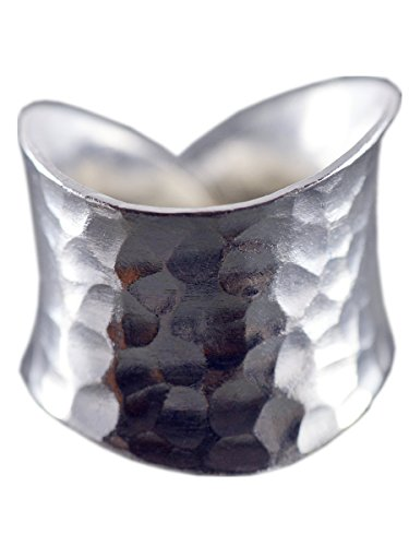 NicoWerk Silberring Vintage Ring Silber 925 Breit Gehämmert Verstellbar Damenringe Damen Schmuck 193