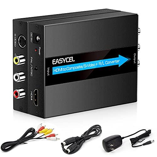 EASYCEL Convertitore da HDMI a S-video RCA con cavi S-video e RCA, Adattatore HDMI S-video, Convertitore da HDMI a AV CVBS Composito, Ingresso HDMI Uscita RCA + S-video (Alluminio)