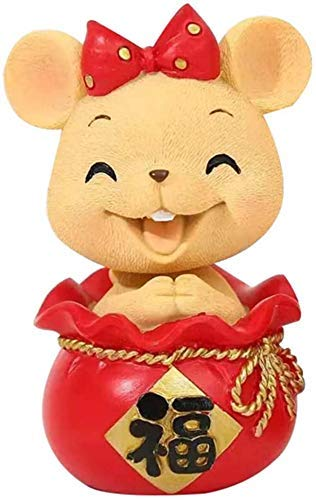 L.TSN Decorations Zodiac Rat/Mouse Statues,Home and Office Resin Feng Shui Decor Figurine Cute Rats Animal Ornaments Statue Wealth and Good Luck Sculpture,B,Colour:B (Color : B)