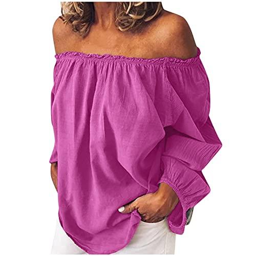 TYTUOO Moda de las mujeres primavera otoño sexy camiseta casual Tops suelta jersey blusa fuera del hombro manga volantes más tamaño una palabra cuello, A-rosa, S