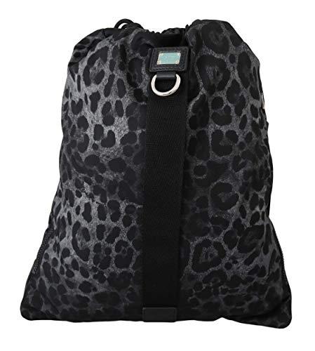Dolce and Gabbana - Bolsa de nailon ajustable con cordón de leopardo