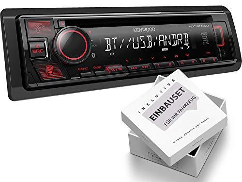 Kenwood KDC-BT430U 1-DIN autoradio met Bluetooth USB AUX geschikt voor Renault Megane 2 MB/cm/KM/LM/EM 2003-2009 zwart