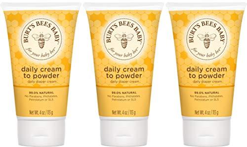 Burt#039s Bees Baby Daily Cream to Powder TalcFree Diaper Rash Cream  4 Ounces Tube  Pack of 3