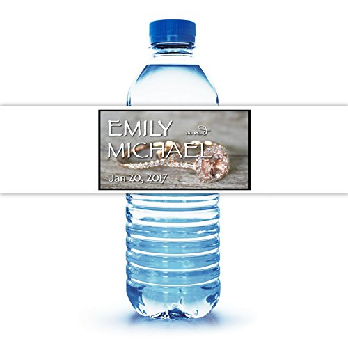 """100 Customized Wedding Themed Water Bottle Labels Engagement Ring Theme 8""""X2"""""""