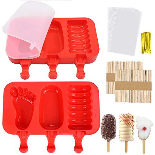 Homgaty - Juego de 2 moldes de silicona para helado con tapas, diseño de paletas de hielo, color rojo