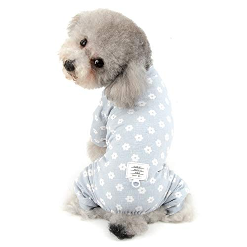 SELMAI Schlafanzug für kleine Hunde, Mädchen, Baumwolle, Welpen, Jumpsuit, Doggie, weich, Chihuahua-Kleidung XXL Blau