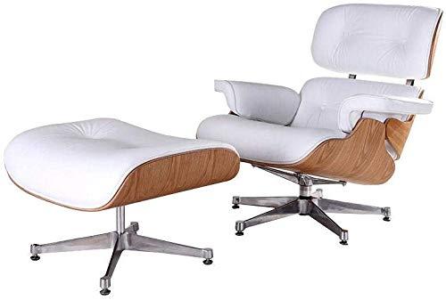 Ledersessel Mit Ottomane, Einzelstuhl Mit Fußschemel Ledersessel Aus Massivem Holz Replik Für Schlafzimmer Wohnzimmer Lounge, Büro (Weiß)